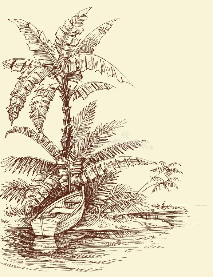 Boat on shore, tropical island drawing royalty free illustration