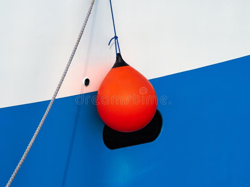 Boat side with protection fender stock photos