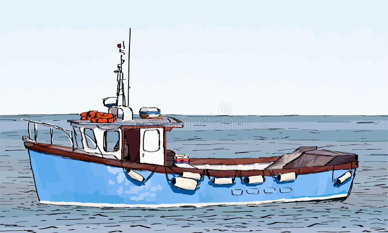 Download Boat Sketch With Color Fill Stock Vector - Image: 26593498