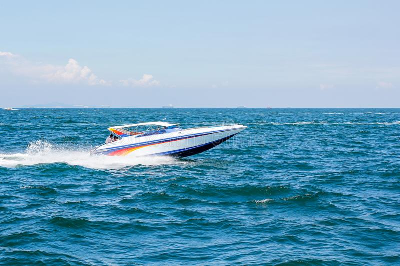 Boat speed boat on the sea with sky natural beauty.Pattaya, Thailand.  stock photo