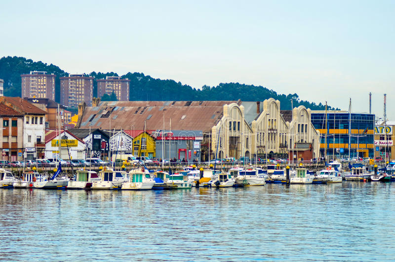 Boat station in Aviles royalty free stock photos