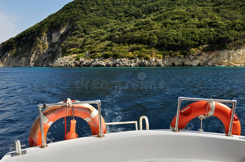 Download Boat stern with life buoys stock image. Image of round - 26312767
