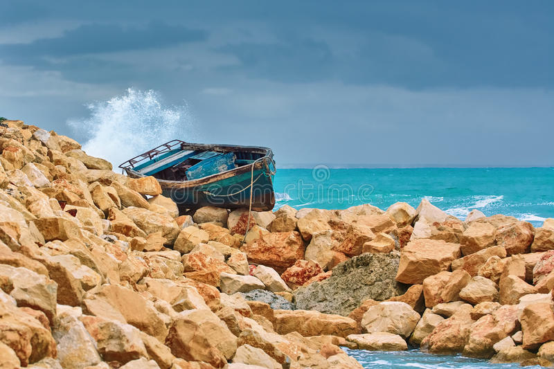 Boat on the Stony Shore royalty free stock photos