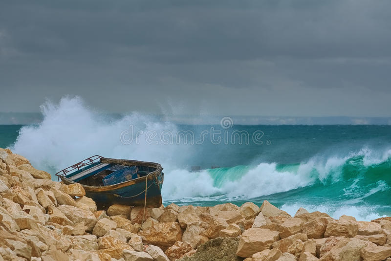 Boat on the Stony Shore stock image