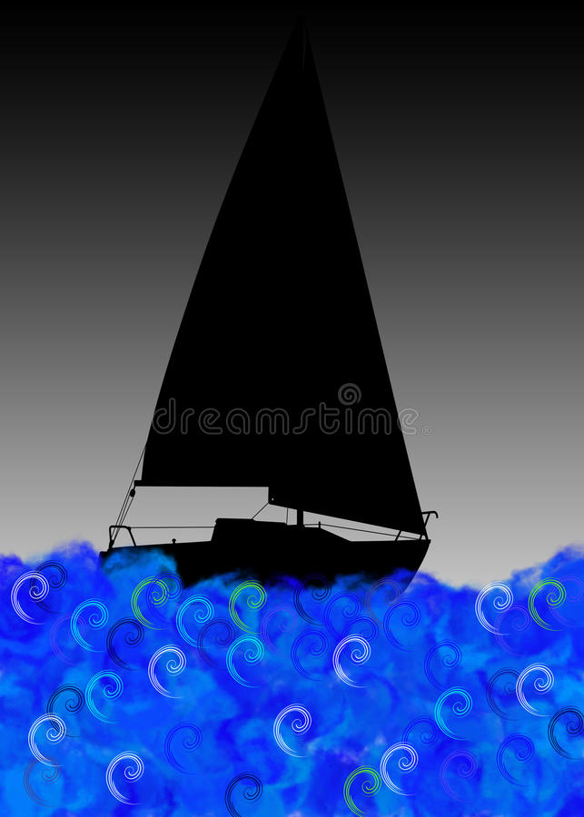 Download Boat on stormy sea stock illustration. Image of graphic - 14118316