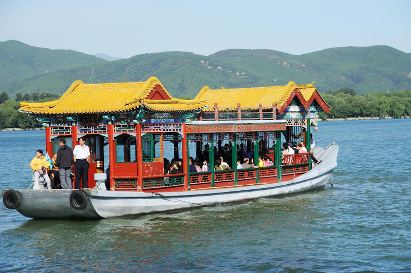 Boat in summer palace stock photography