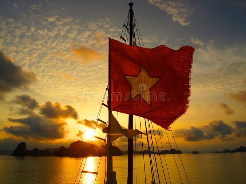 Boat sunet ha long bay royalty free stock photo