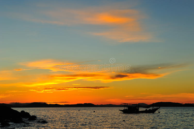 Download Boat with sunset stock photo. Image of night, fish, evening - 22057424