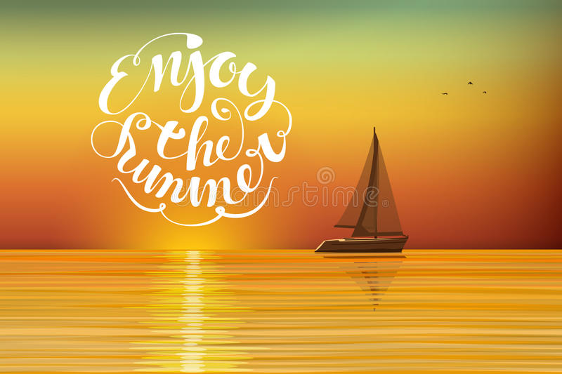 Boat at sunset vector illustration