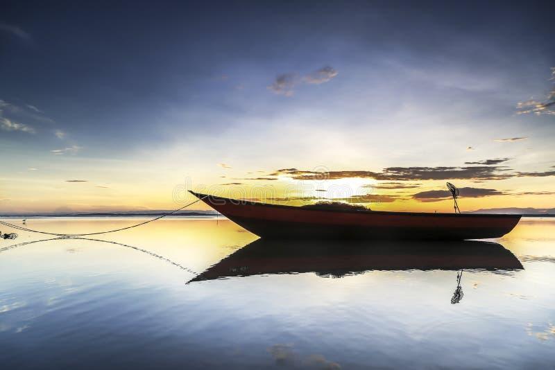 Boat at Tanjung aru beach, Labuan. Malaysia 08. Boat at Tanjung Aru beach Labuan Malaysia. with beautiful sunrise royalty free stock photography