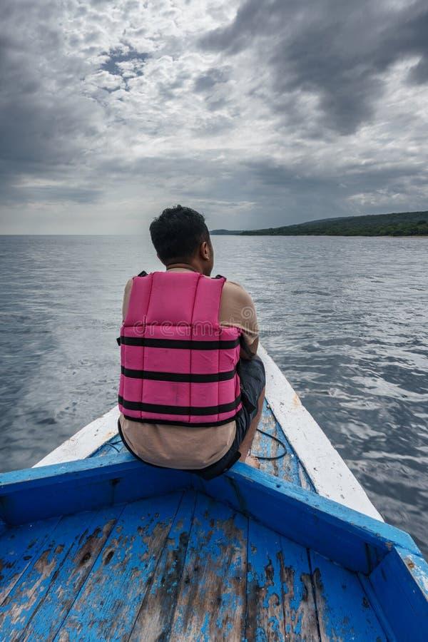 Boat to Menjangan Island. This photo taken on the boat enroute to Menjangan Island Bali, Indonesia stock photo