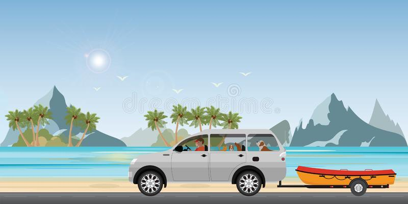 Boat towing car on road running along the sea coast. Boat on a trailer, banner on the theme of fishing, camping, adventures in nature vector illustration royalty free illustration