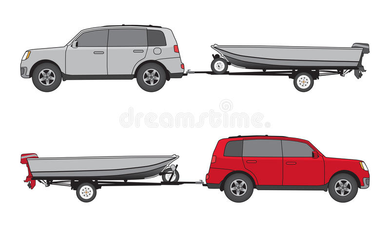 Boat trailer and Car. Sport utility vehicle in two different color schemes is towing boat on trailer stock illustration