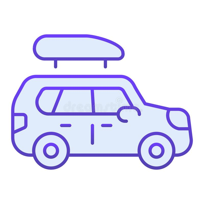 Boat trailer flat icon. Automotive with boat blue icons in trendy flat style. Truck gradient style design, designed for vector illustration