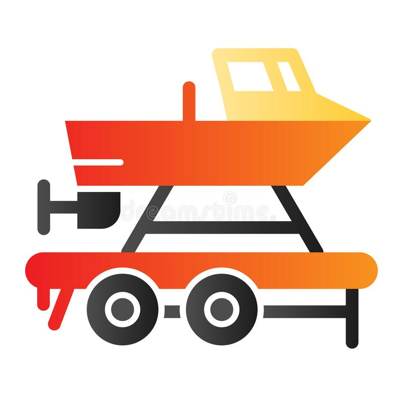 Boat on a trailer flat icon. Boats transportation color icons in trendy flat style. Transportation of a ship gradient. Style design, designed for web and app vector illustration
