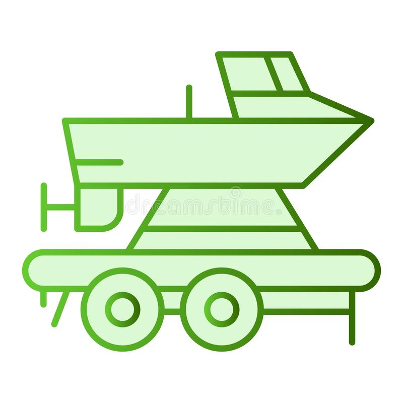 Boat on a trailer flat icon. Boats transportation green icons in trendy flat style. Transportation of a ship gradient. Style design, designed for web and app royalty free illustration