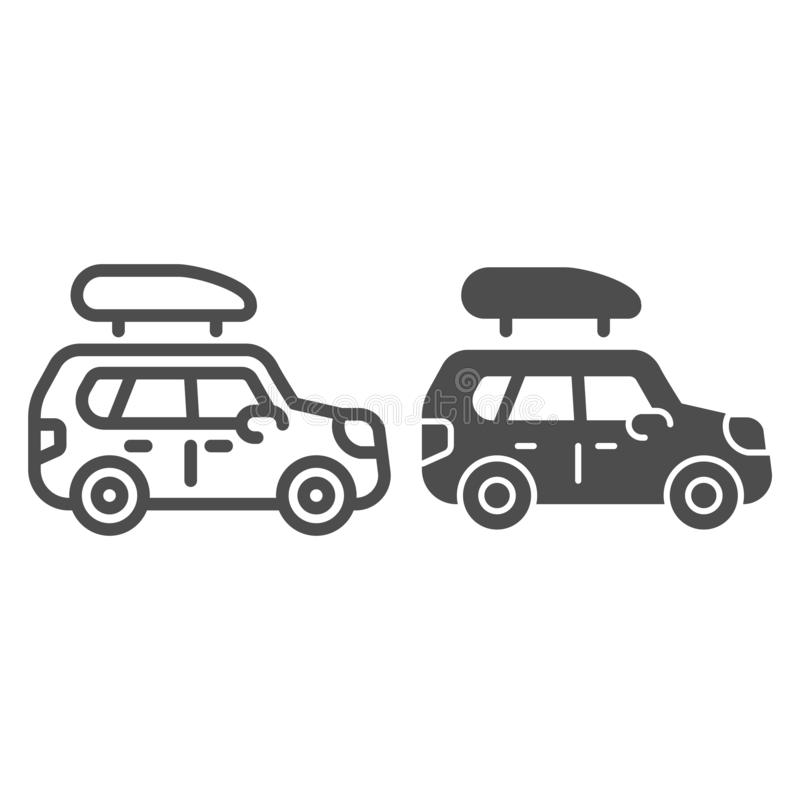Boat trailer line and glyph icon. Automobile with boat vector illustration isolated on white. Truck outline style design royalty free illustration