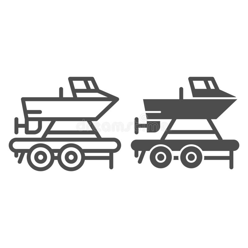 Boat on a trailer line and glyph icon. Boats transportation vector illustration isolated on white. Transportation of a. Ship outline style design, designed for vector illustration