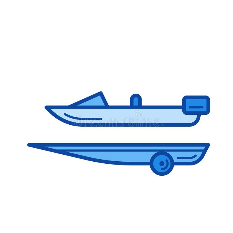 Boat trailer line icon. Boat trailer vector line icon isolated on white background. Boat trailer line icon for infographic, website or app. Blue icon designed vector illustration