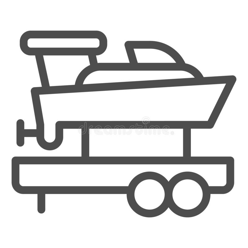 Boat with trailer line icon. Ship transportation vector illustration isolated on white. Sailboat on truck outline style stock illustration