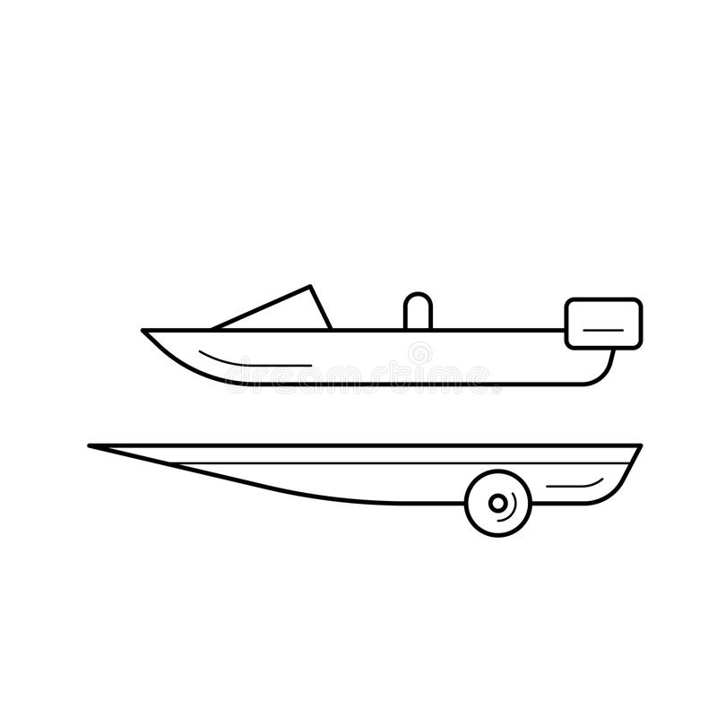 Boat trailer line icon. Boat trailer vector line icon isolated on white background. Boat trailer line icon for infographic, website or app. Icon designed on a vector illustration