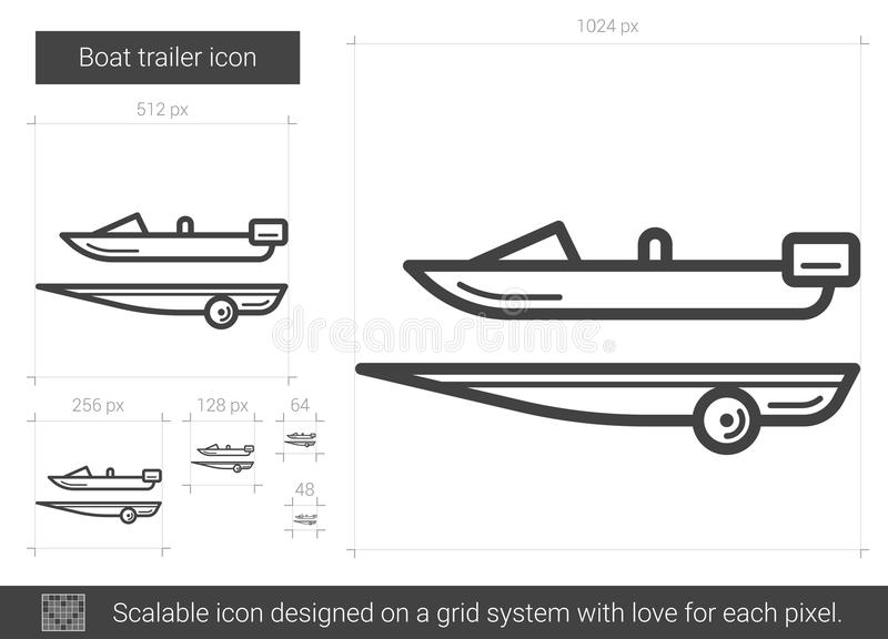 Boat trailer line icon. Boat trailer vector line icon isolated on white background. Boat trailer line icon for infographic, website or app. Scalable icon stock illustration
