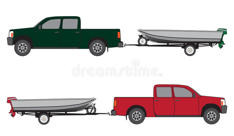 Boat Trailer and Pickup vector illustration