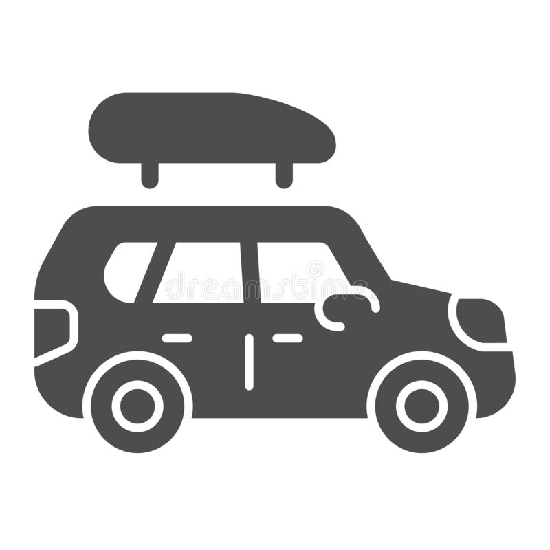 Boat trailer solid icon. Automobile with boat vector illustration isolated on white. Truck glyph style design, designed stock illustration