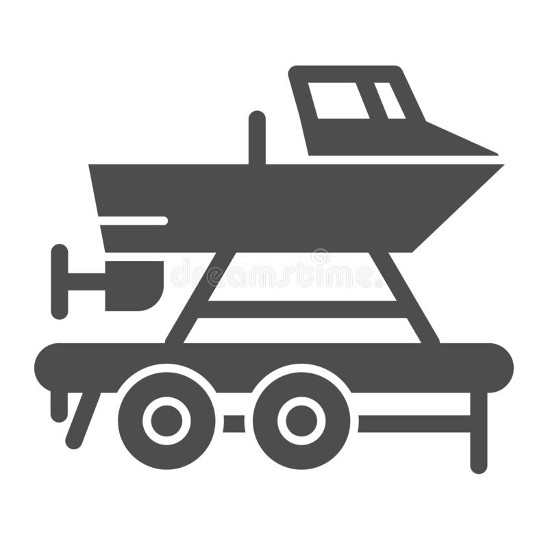 Boat on a trailer solid icon. Boats transportation vector illustration isolated on white. Transportation of a ship glyph vector illustration