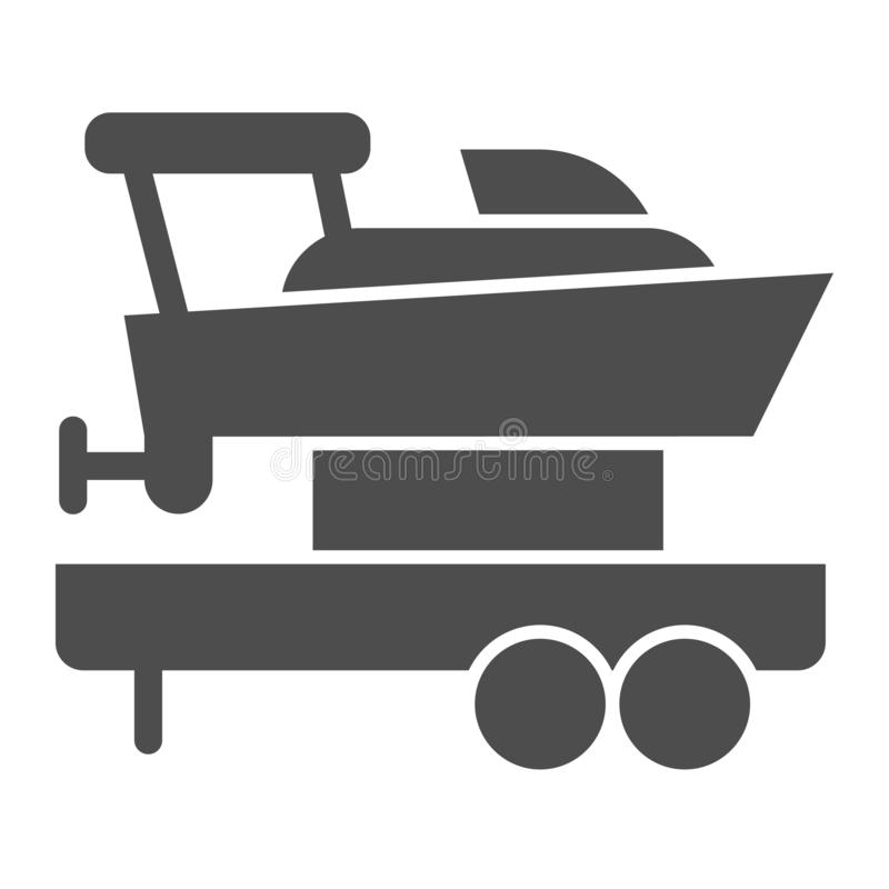Boat with trailer solid icon. Ship transportation vector illustration isolated on white. Sailboat on truck glyph style royalty free illustration