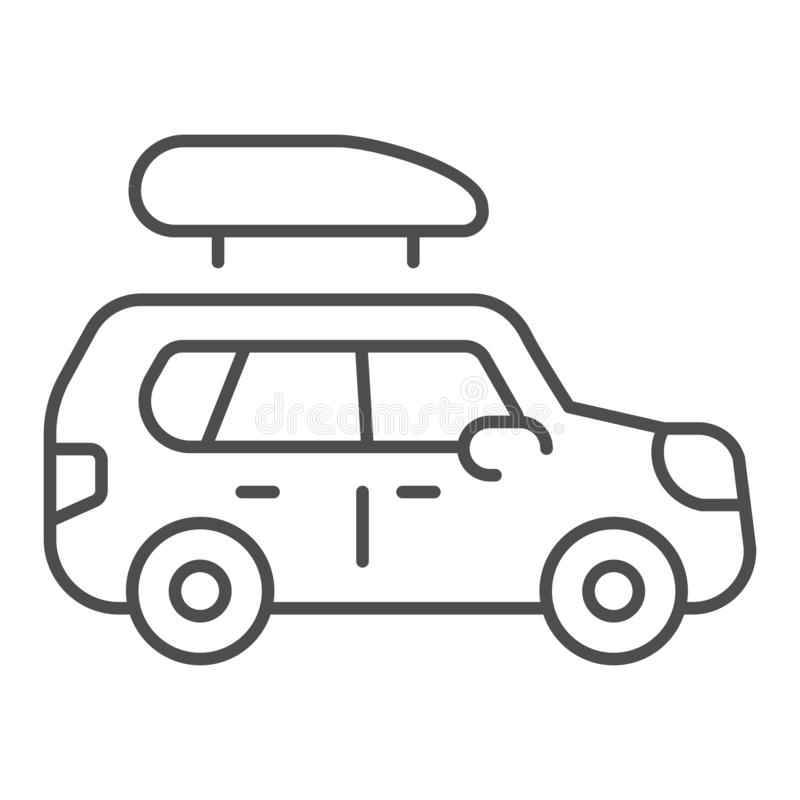 Boat trailer thin line icon. Automobile with boat vector illustration isolated on white. Truck outline style design. Designed for web and app. Eps 10 stock illustration