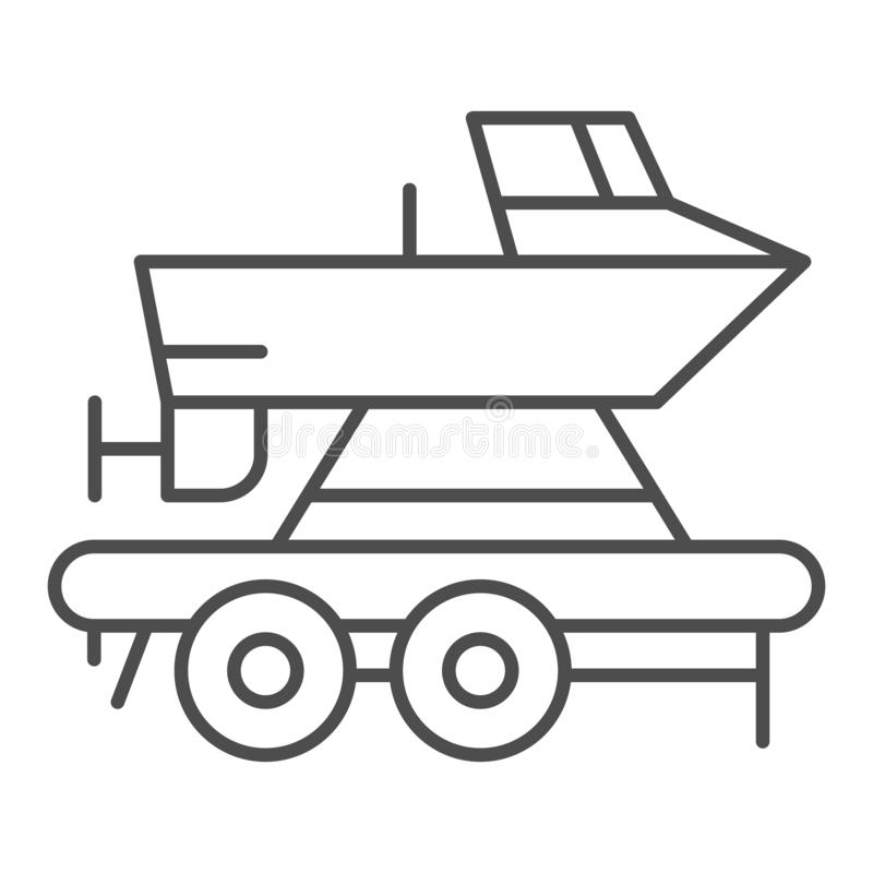 Boat on a trailer thin line icon. Boats transportation vector illustration isolated on white. Transportation of a ship. Outline style design, designed for web royalty free illustration