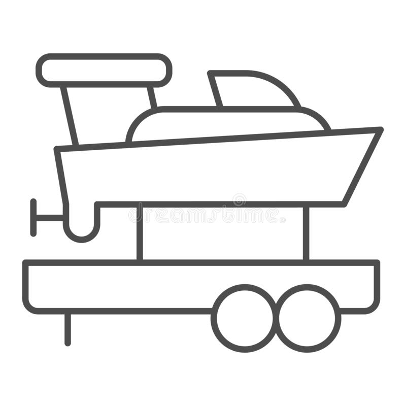 Boat with trailer thin line icon. Ship transportation vector illustration isolated on white. Sailboat on truck outline vector illustration