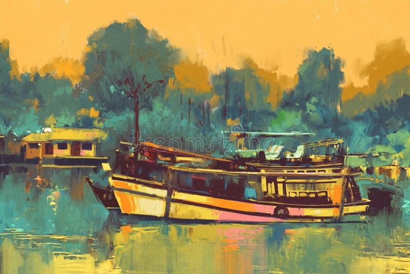 Boat for the transportation on river vector illustration