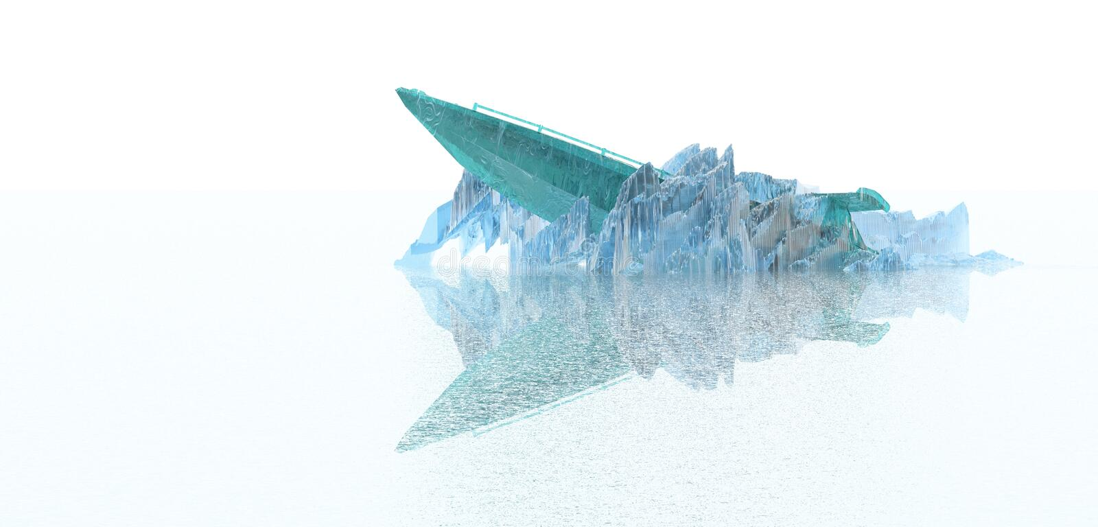 Boat trapped in ice royalty free illustration