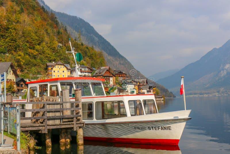 The Boat Travel Cruise, Prepare to Sail with Lake of hallstatt, austria. Hallstatt, austria - Oct 20 2018 : The Boat Travel Cruise, Prepare to Sail with Lake of stock photography
