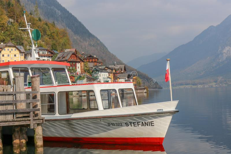 The Boat Travel Cruise, Prepare to Sail with Lake of hallstatt, austria. Hallstatt, austria - Oct 20 2018 : The Boat Travel Cruise, Prepare to Sail with Lake of stock photo