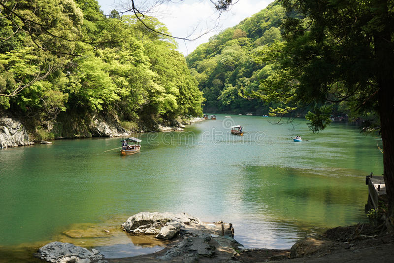 Boat trip Arashiyama Kyoto royalty free stock photos