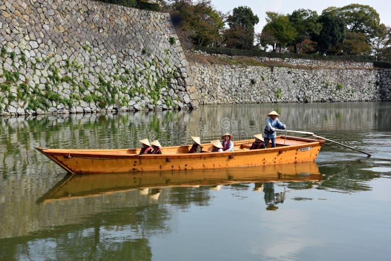 Boat trip around Himeji Castle in Japan royalty free stock photos
