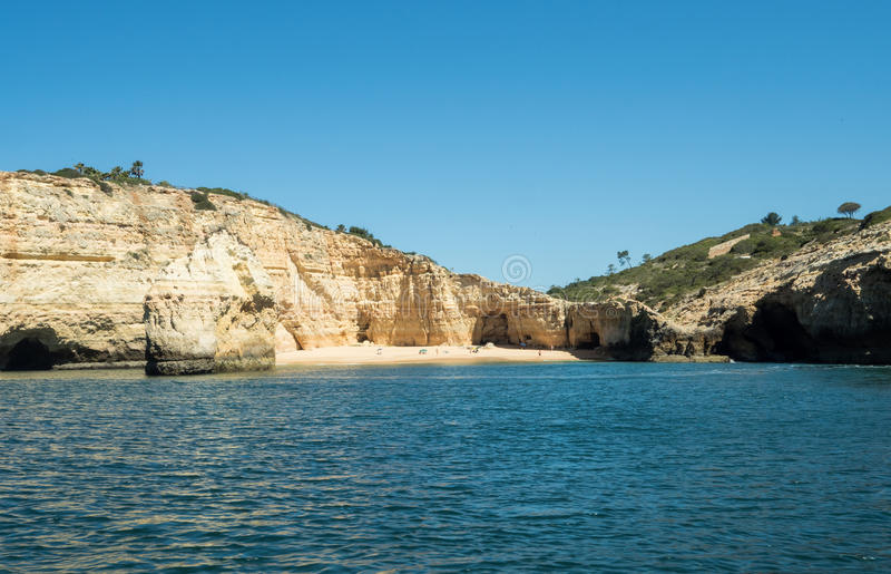 A boat trip near Algarve coast. A view of the rocks on the sea near the Algarve coast in Portugal, 2016 royalty free stock image