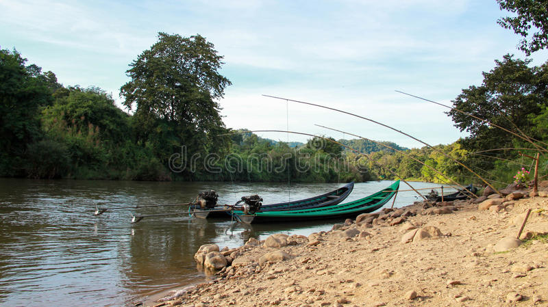 The Boat trip to Long neck Karen Village. It is a beautiful and unforgettable place of Mae Hong Son tourism royalty free stock photography