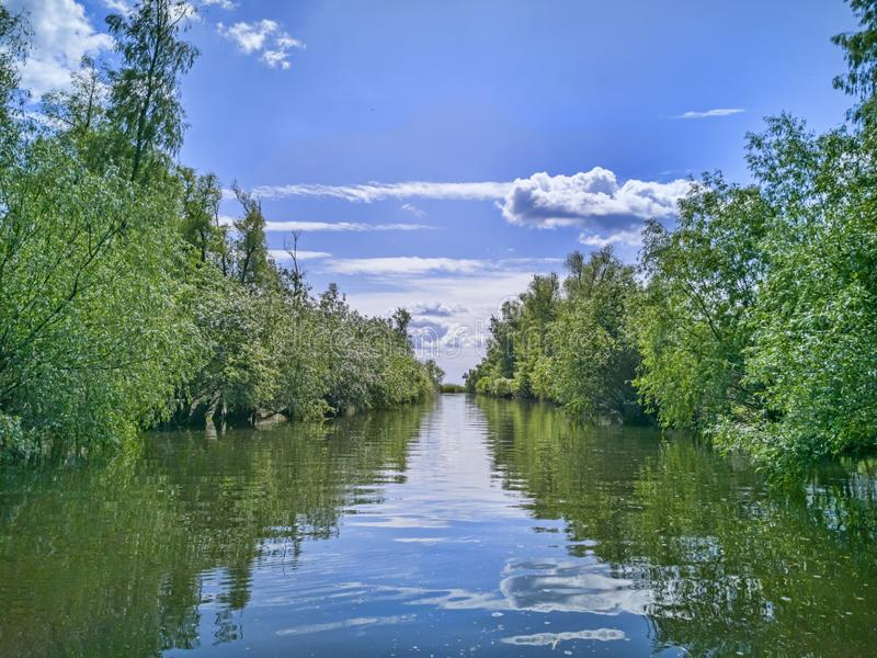 Boat trip on water canal in Danube Delta. Summer landscape in beautiful sunny day stock photos