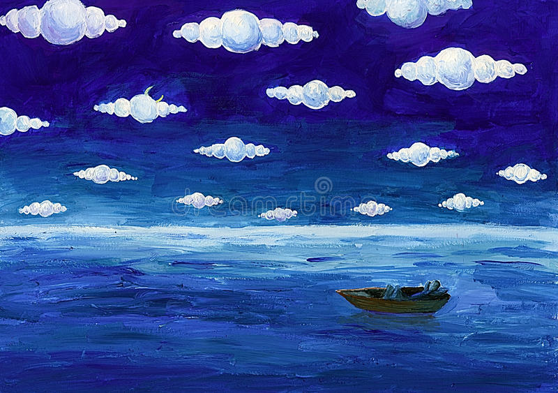Download Boat under round clouds stock illustration. Illustration of fairy - 10880045