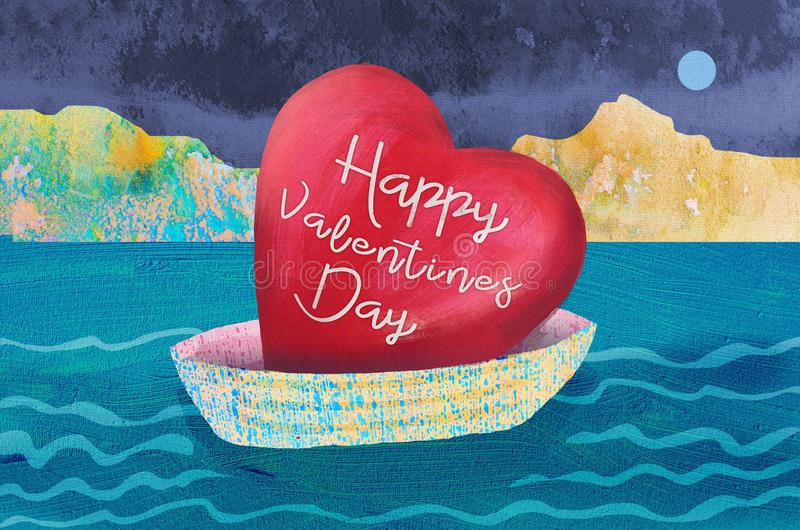 Boat with the valentines day heart. Love concept. Illustration for happy valentines day celebration stock illustration