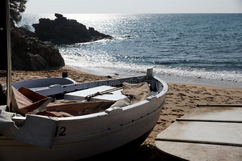 Boat waiting to be floated royalty free stock image
