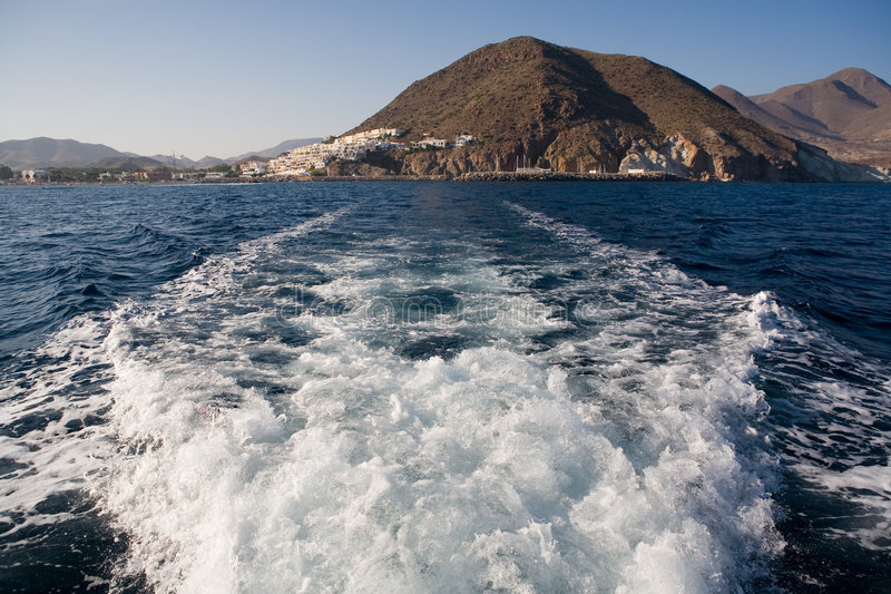 Download Boat wake stock image. Image of wake, almeria, houses - 1021751