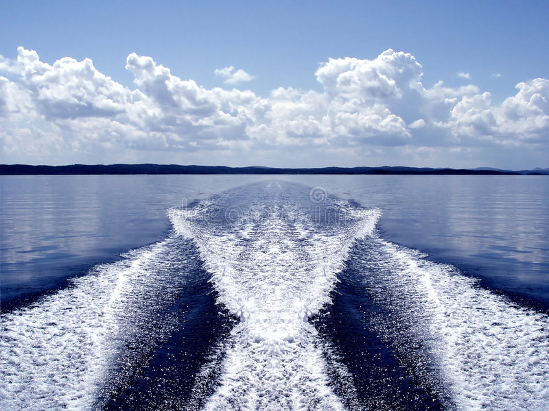 Boat wake. Speed Boat wake, wake from the back of a speed boat royalty free stock photos