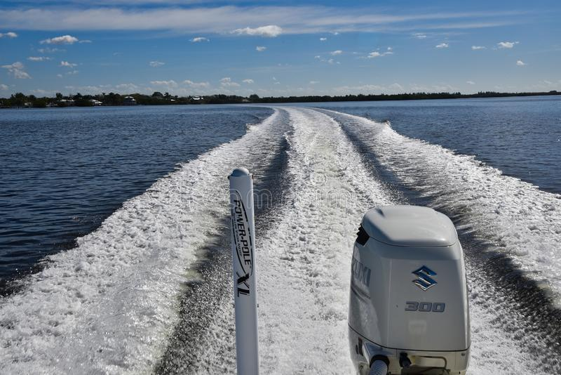 Boat Wake in Florida stock photography
