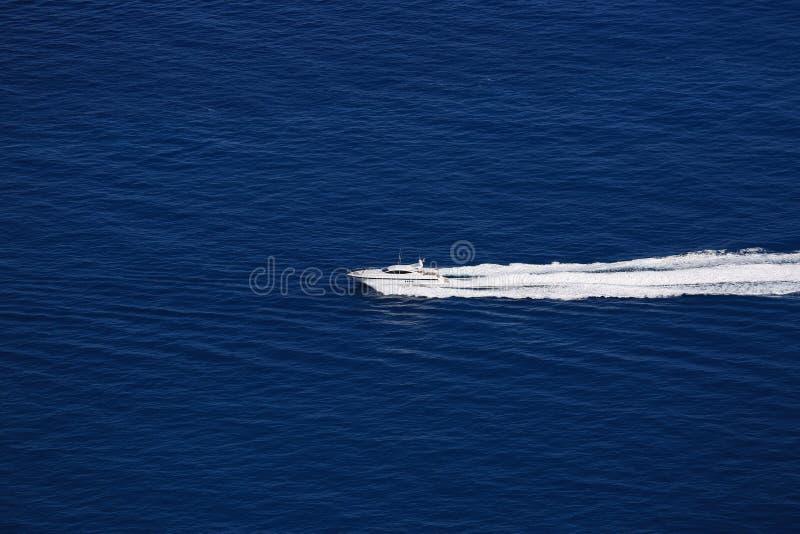 Boat Wake on Mediterranean Sea stock image