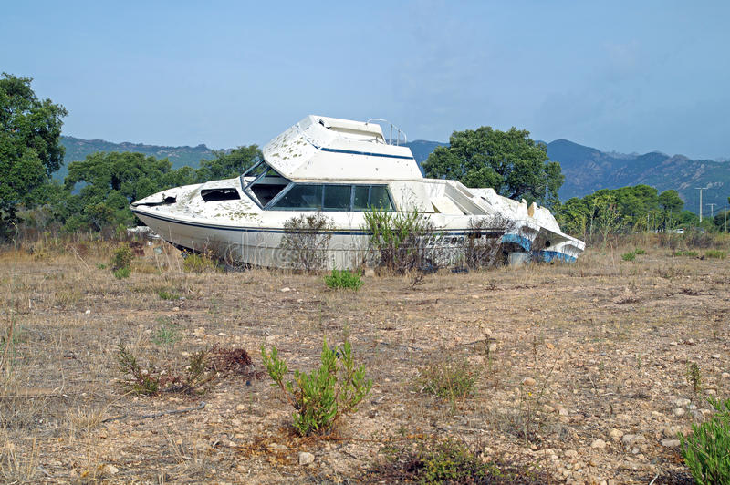 boat was destroyed and abandoned after a hurricane . royalty free stock photos